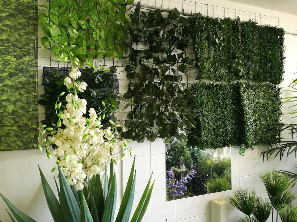 showroom umělé rostliny a zelené stěny